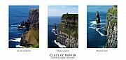 Irish Photo Prints - Cliffs of Moher Ireland Triptych Print by Teresa Mucha