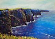 Famous Pastels Posters - Cliffs of Moher Poster by Joyce A Guariglia