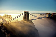 Dusk Framed Prints - Clifton Suspension Bridge Framed Print by Paul C Stokes