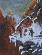 Ice Climbing Paintings - Climbers Refuge by William Bezik