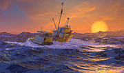 Fishing Boat Sunset Posters - Climbing the Sea Poster by Dieter Carlton