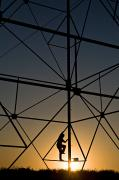 Telephone Pole Prints - Climbing Up A Power Tower Print by Dawn Kish