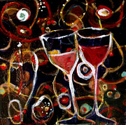 Wineglasses Paintings - Clink #1 by Liz  Marshall