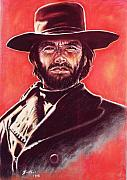 Red Pastels Metal Prints - Clint Eastwood Metal Print by Anastasis  Anastasi
