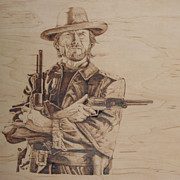 Cowboy Pyrography Originals - Clint Eastwood by Chris Wulff