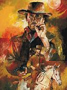 Cowboy Sketches Framed Prints - Clint Eastwood Framed Print by Christiaan Bekker