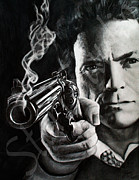 Dirty Harry Drawings - Clint Eastwood drawing by Jamie Pickering