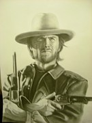 Star Drawings Posters - Clint Eastwood Poster by John Balestrino
