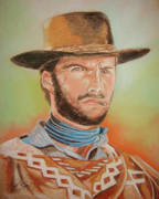 John Keaton Pastels Framed Prints - Clint Eastwood Framed Print by John Keaton