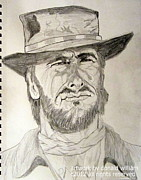 Drifter Drawings Prints - Clint Eastwood Portrait Sketch Print by Donald William
