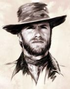 Sergio Leone Metal Prints - Clint Eastwood Portrait Metal Print by Wu Wei