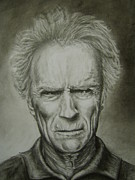 Dirty Harry Drawings - Clint Eastwood by Steph Twycross-Ritchie