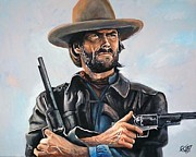 Outlaw Paintings - Clint Eastwood  by Tom Carlton