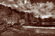 Wintry Photo Posters - Clinton Red Mill House Sepia Poster by Lee Dos Santos