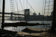 Brooklyn Bridge Prints - Clipper and Bridges Print by Christopher Kirby