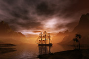 Sailing Ships Posters - Clipper ship at sunset Poster by Carol and Mike Werner