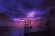 Tall Ships Prints - Clipper ship at sunset II Print by Carol and Mike Werner