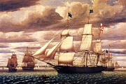 Boston Harbor Paintings - Clipper Ship Leaving Boston Harbor by Pg Reproductions