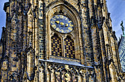 St Vitus Posters - Clock at St Vitus Cathedral Poster by Jon Berghoff