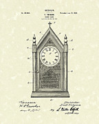 Clock Drawings Posters - Clock Case Design 1902 Patent Art Poster by Prior Art Design