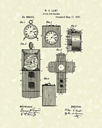 Clock Drawings Posters - Clock Cover 1887 Patent Art Poster by Prior Art Design