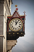 Roman Numeral Framed Prints - Clock In A London Street Framed Print by Buena Vista Images