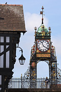 Large Clocks Posters - Clock in Chester Poster by Andrew  Michael