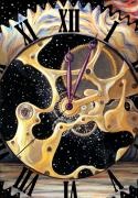Stars Pastels Posters - Clock of Universe Poster by Stoyanka Ivanova
