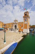Flagstone Framed Prints - Clock Tower at The Arsenale Framed Print by Jeremy Woodhouse