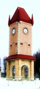 Metal Roofs Posters - Clock Tower In Czech Village Poster by Marsha Heiken