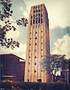 University Of Michigan Posters - Clock Tower Poster by Phil Perkins