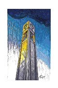 Rain Drawings - Clock Tower by Ronda Douglas