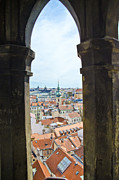 Town Square Prints - Clock Tower View - Prague Print by Jon Berghoff