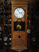 French Wine Bottles Photo Prints - Clock Wine Rack Print by Valia Bradshaw