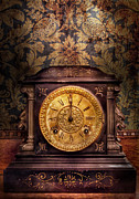 Horologs Prints - Clockmaker - Wolf Clock  Print by Mike Savad