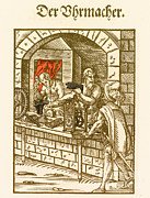 Clockmaker Prints - Clockmaker, Medieval Tradesman Print by Science Source