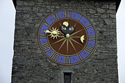 Large Clock Prints - Clocktower in Lucerne on a stone tower Print by Ashish Agarwal