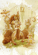 Fashion Painting Metal Prints - Clockwork Metal Print by Brian Kesinger