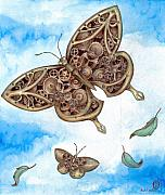 Steampunk Drawings - Clockwork Butterfly by Rachel Walker