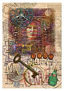 Typewriter Keys Mixed Media Prints - Clockworks Print by Ernestine Grindal