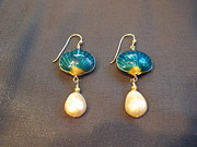 White Pearl Jewelry - Cloisonne Shell Pearl Earring by Jan Durand
