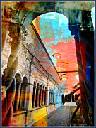 Pillars Digital Art Posters - Cloister in Rome Poster by Mindy Newman