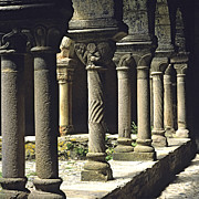 Religious Art Photo Metal Prints - Cloister of Lavaudieu. Haute Loire. Auvergne Metal Print by Bernard Jaubert