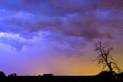 Timed Exposure Prints - Clolorful C2C Lightning Country Landscape Print by James Bo Insogna