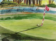Golf Flag Prints - Close at the Eleventh Hole Print by John  Williams