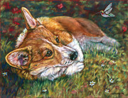 Corgi Dog Portrait Posters - Close Encounter - Pembroke Welsh Corgi Poster by Lyn Cook