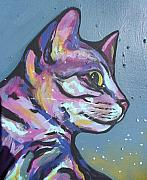 Feline Paintings - Close Rainbow Rocky  by Sarah Crumpler