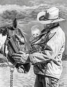 Cowboy Drawings Prints - Close To The Heart Print by Glen Powell
