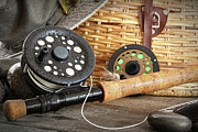 Spool Prints - Close-up fly fishing rod  Print by Sandra Cunningham
