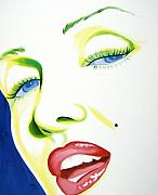 Marilyn Monroe Paintings - Close up by Holly Picano